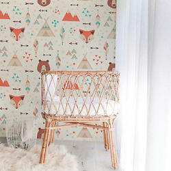 Removable Wallpaper Self-adhesive Geometric Cartoon Animals Indian Style