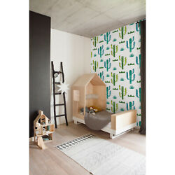 Removable Wall Mural Watercolor Cute Cactus Kids Room Nursery Green And White