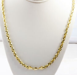 5.00mm 18 41.00gm Solid 14k Yellow Gold Menand039s Rope Polished Chain Necklace