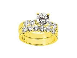 1.50ct Round Cut Diamond Women's Bridal Engagement Ring Set Solid 18k Gold G Si1