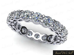 3.15ct Round Diamond Gallery Shared Prong Eternity Band Ring 14k White Gold F Vs