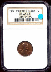 1972 1c Doubled Die Obverse Ms62rb Ngc-lincoln Cent++