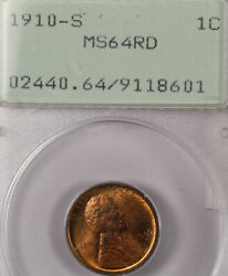 1910-s 1c Ms64rd Pcgs Lincoln Cent- 528 In Higher Grade -only 309000 Minted