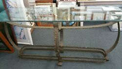 Vtg 70s Brutalist Console Table Silas Seandel Rustic Metal Chip Edge Glass Top