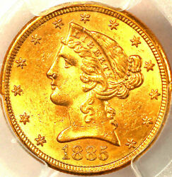 1885-s 5 Ms63 Pcgs Only 606 In Higher Grades Liberty Head Half Eagle