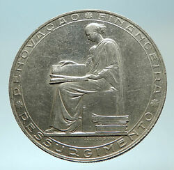 1953 Portugal 25 Years Financial Reform Proof Silver 20 Escudos Coin I76624