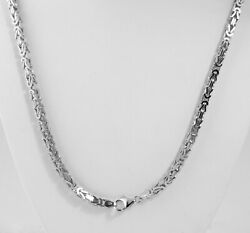 38.50 Gm 14k White Solid Gold Menand039s Womenand039s Byzantine Chain Necklace 22 3.5 Mm