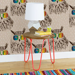 Non-woven Wallpaper Home Owls With Colorful Glasses Retro For Kids Room Animals