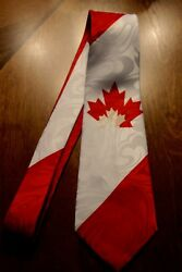 Brand New Polyester Neck Tie With The Canadian Flag On A New Neck Tie