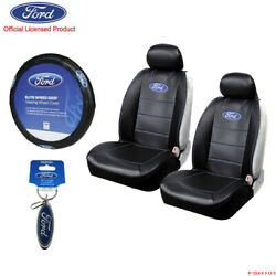 New 6pcs Ford Elite Style Car Truck Front Suv Seat Covers Steering Wheel Cover
