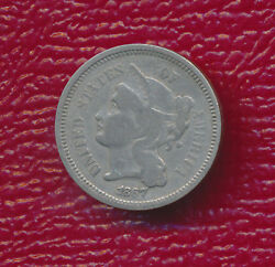 1867 Three Cent Nickel Highly Collectible Type Coin Free Shipping