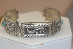 Vintage Signed Native American Sterling Silver Turquoise Bracelet Watch Band