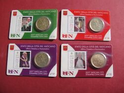 Official Vatican 4 Coin Cards Pontificate Pope Francis With Stamps