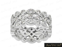 2.15ct Round Diamond 3row Wedding Eternity Band Ring Solid 14k White Gold H Si2