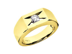 Natural 0.35ct Round Cut Solitaire Mens Band Ring 18k Yellow Gold F Vs2 Channel