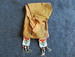 Native American Beaded Leather Bag, Old Lg. Beads Leather Pouch, Day-02179