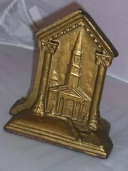 Vtg Cathedral Church Cast Iron Gold Painted Book Ends