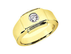 Genuine 3/4ct Round Solitaire Mens Wedding Band Ring 18k Yellow Gold I Si2 Bezel