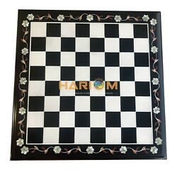 15 Marble Black Chess Board And 3 Pieces Indoor Games Handmade Inlay Gifts B085
