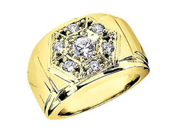 Genuine 0.60ct Round Mens Wedding Band Ring Solid 18k Yellow Gold G Si1 Prong