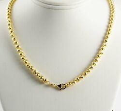 27.30 Gram 14k Yellow Gold Menand039s Womenand039s Bead Moon Cut Chain Necklace 24 5 Mm