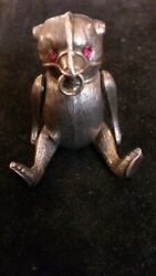 Extremely Rare Sterling Silver Edwardian Articulated Bear Pin Cushion