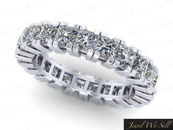 Natural 3.55ct Diamond Gallery Eternity Band Ring 18k White Gold H Si2 Prong Set