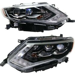Headlight For 2017-2018 Nissan Rogue Driver And Passenger Side