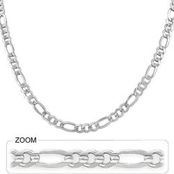 6.00mm 24 28.00gm 14k Gold Solid White Men's Figaro Polished Chain Necklace