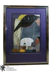 1990s Michele Aaron Mixed Media Acrylic Abstract Modern Painting 47 X 36