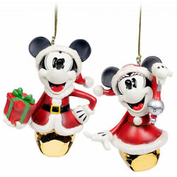 Disney Parks Mickey And Minnie Christmas Jingle Bell Ornaments New With Tags