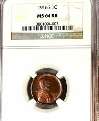 1916-s 1c Ms64rb Ngc-rare Color Pure Beautiful Red-lincoln Cent