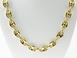 38 Gm 14k Yellow Gold Menand039s / Womenand039s Puff Mariner Chain Necklace 22 12 Mm