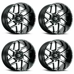 Set 4 24 Vision Sliver 360 Black Machined Face Wheels 24x12 6x5.5 -57mm Lifted