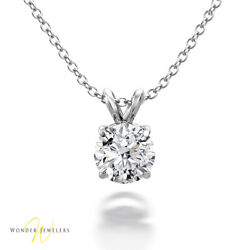 0.62ct Gia Round Diamond Solitaire Necklace Pendant 14k Gold H/si1 1293242194