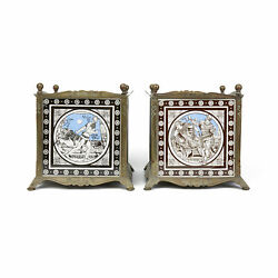 Pair Arts And Crafts Minton Moyr Smith Tile Planters C.1880