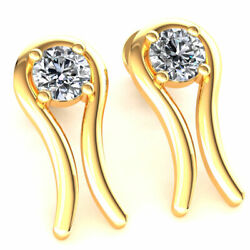 Genuine 0.75ct Round Cut Diamond Ladies Curved Solitaire Earrings 14k Gold