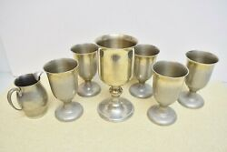 + Set Of 6 Pewter Goblets Communion Cup Chalices + Woodbury Pewter Cu439