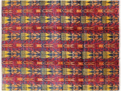 Ikat Hand-knotted Wool Area Rug 9' 1 X 11' 10 - Mc125