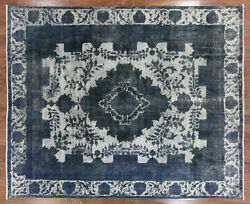 Blue Overdyed Hand Knotted Wool Rug 9and039 5 X 11and039 10 -w915
