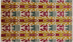 Hand Knotted Ikat Area Rug 5' 1 X 8' 4 - P5083