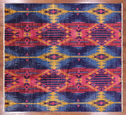 7and039 10 X 8and039 8 Ikat Hand Knotted Wool Area Rug - P5019
