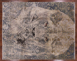 8and039 1 X 9and039 10 Lion Hand Knotted Wool And Silk Rug - P8599