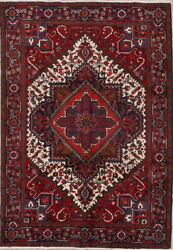 One-of-a-kind Vintage Geometric Oriental Hand-knotted 7x10 Wool Area Rug