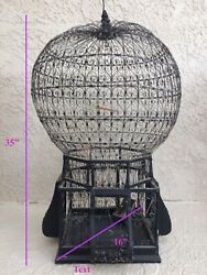Antique Victorian Birdcage Wood And Wire Sphere Hot Air Balloon 35