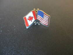 American And Canadian Flag Lapel Hat Tie Tack Pin