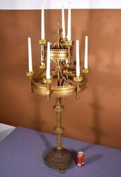 48 Tall Antique French Bronze Gothic Revival Church Candlestick/candelabra