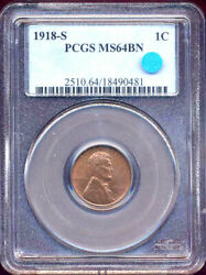 1918-s 1c Ms64bn Pcgs-lincoln Cent++
