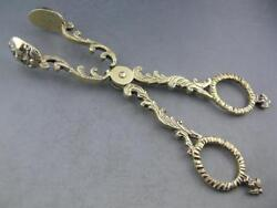 Antique Dutch .833 Silver Serving Tongs Ornate W/ Faces And Angels - Circa 1800s