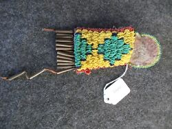 Old Beaded Medicine Bag Native American Leather Tobacco Bag Day-02309